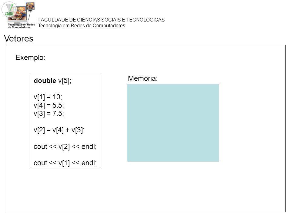 Vetores Exemplo: Memória: double v[5]; v[1] = 10; v[4] = 5.5;